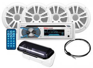 BOSS - In-Dash Marine Gauge Media AM/FM Receiver, 2xMR6W 6.5inch–180 Watts 2-Way Marine Speaker