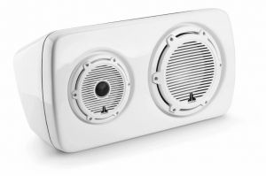 JL Audio - #90132 M6 3-Way Weatherproof Speaker - Classic Grille White Left